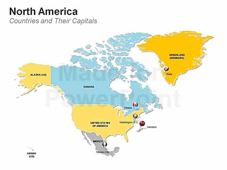Editable Maps Of north America Inspirational Americas Map Editable Ppt Slides