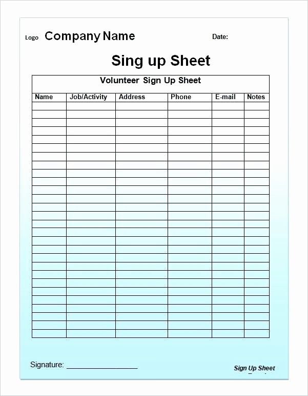 Editable Sign In Sheet Template Awesome Editable Printable Sign Up Sheet Open House In Free