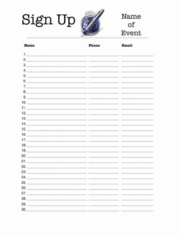 Editable Sign In Sheet Template Unique 4 Excel Sign Up Sheet Templates Excel Xlts