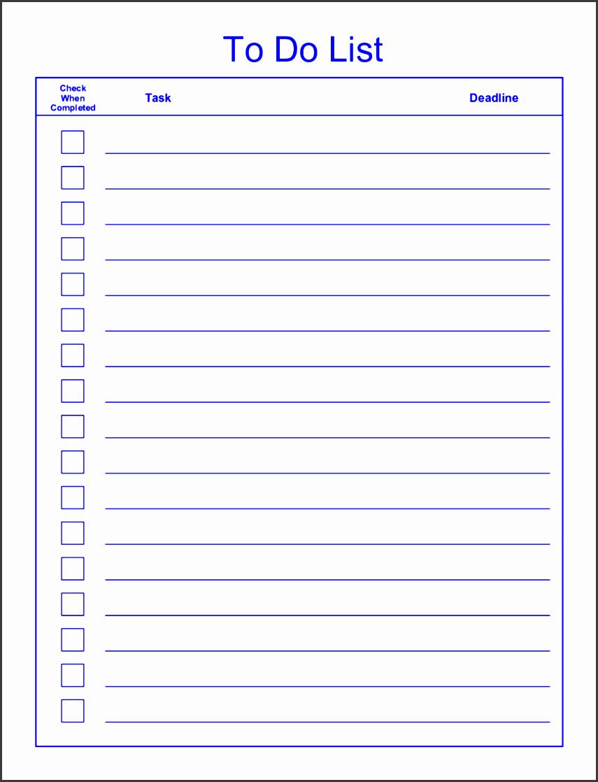 Editable to Do List Template Fresh 6 Editable to Do List Template Sampletemplatess