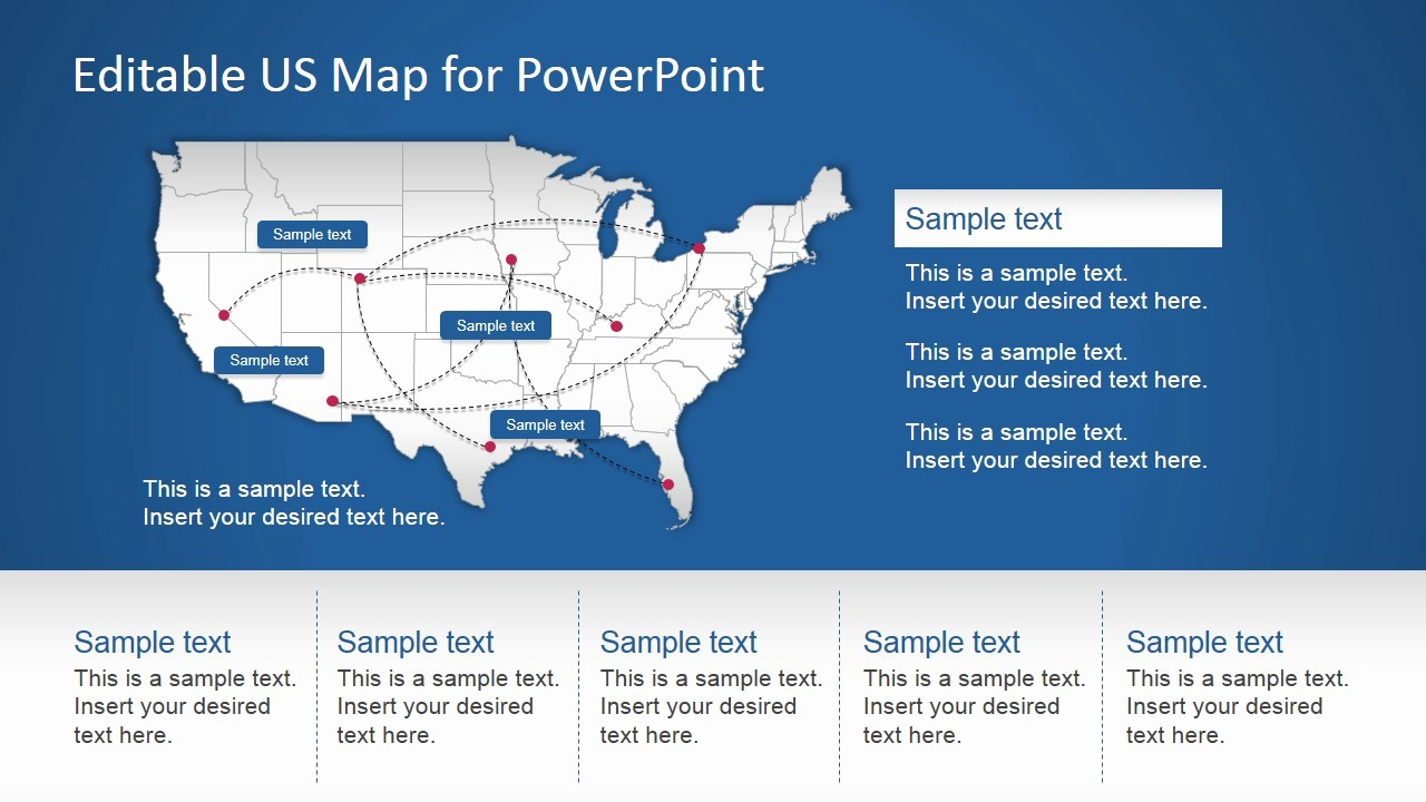 Editable Us Map for Ppt Awesome Us Powerpoint Map with Routes Slidemodel