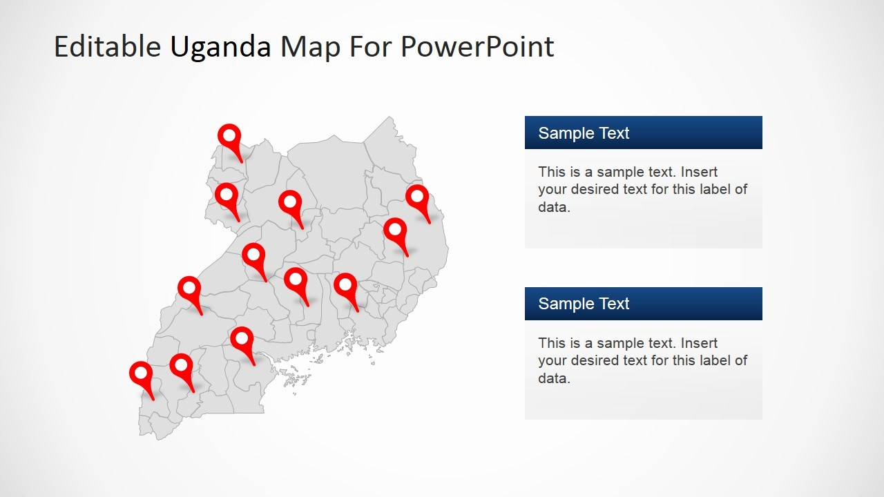 Editable Us Map for Ppt Beautiful Editable Uganda Powerpoint Map Slidemodel