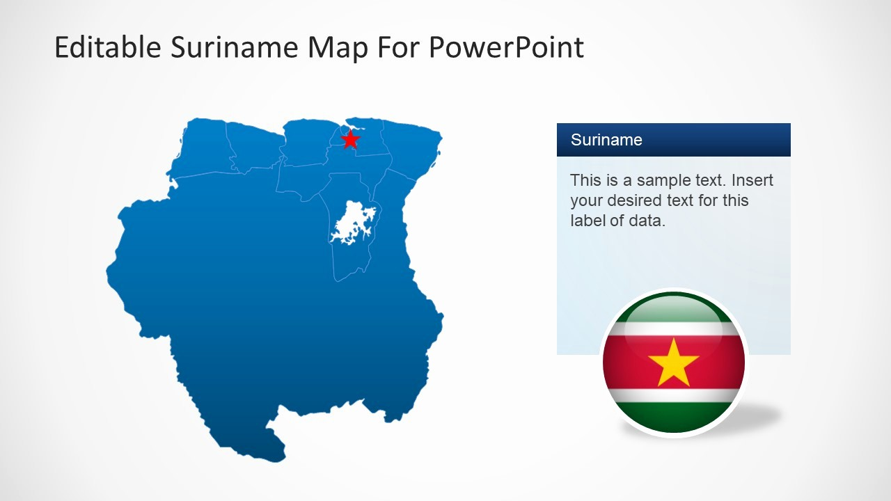 Editable Us Map for Ppt Elegant Editable Suriname Map for Powerpoint Slidemodel