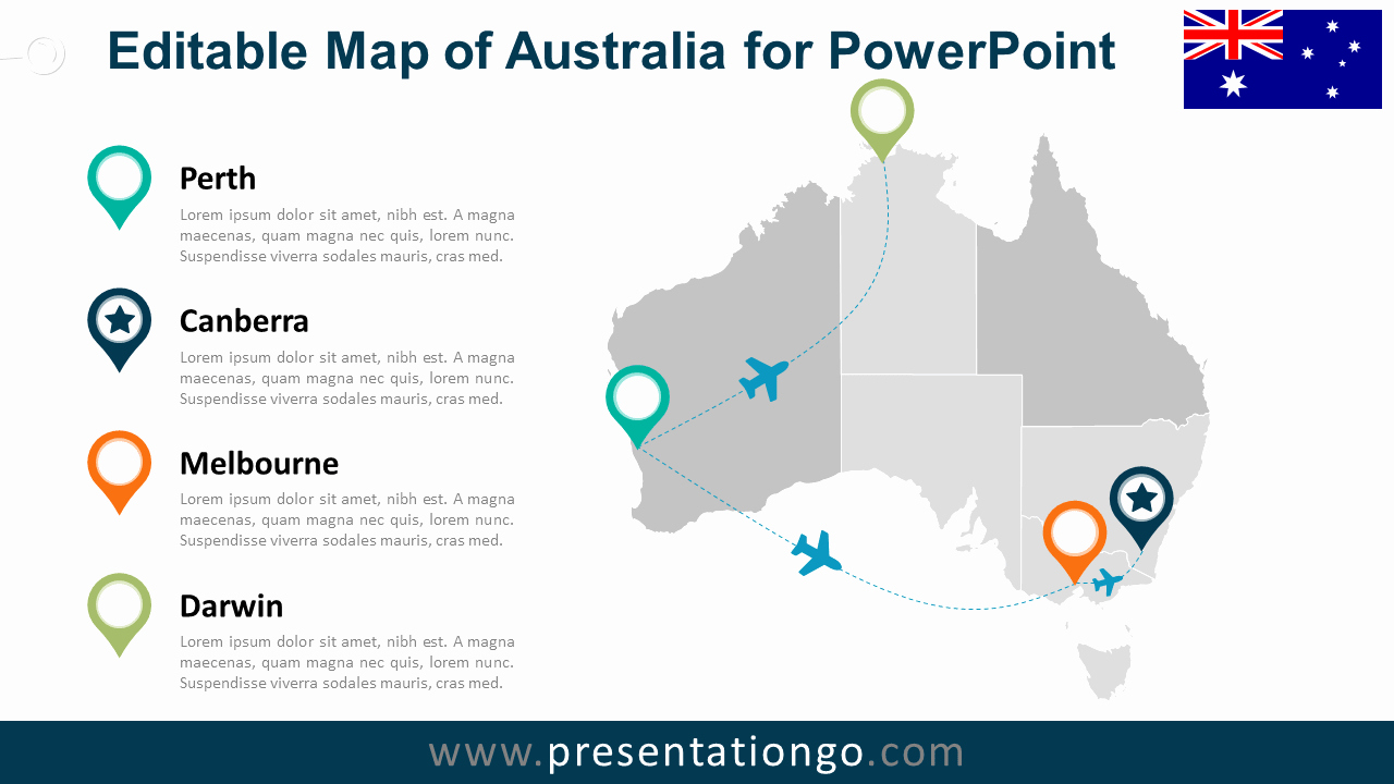Editable Us Map for Ppt Inspirational Australia Editable Powerpoint Map Presentationgo