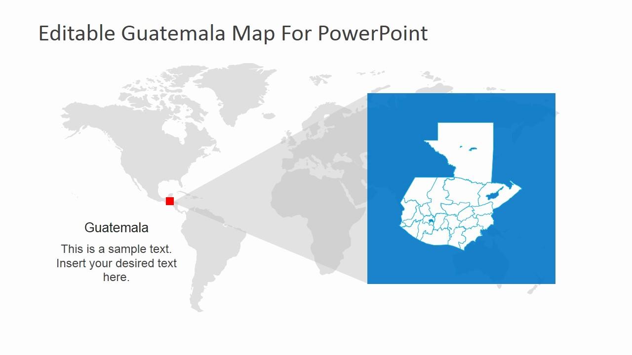Editable Us Map for Ppt Inspirational Editable Guatemala Powerpoint Map Slidemodel