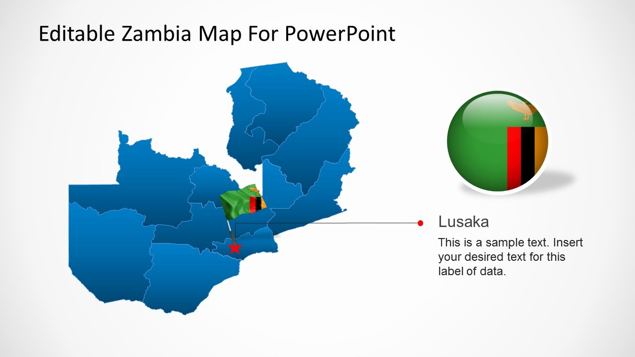 Editable Us Map for Ppt Lovely Editable Zambia Map for Powerpoint Slidemodel