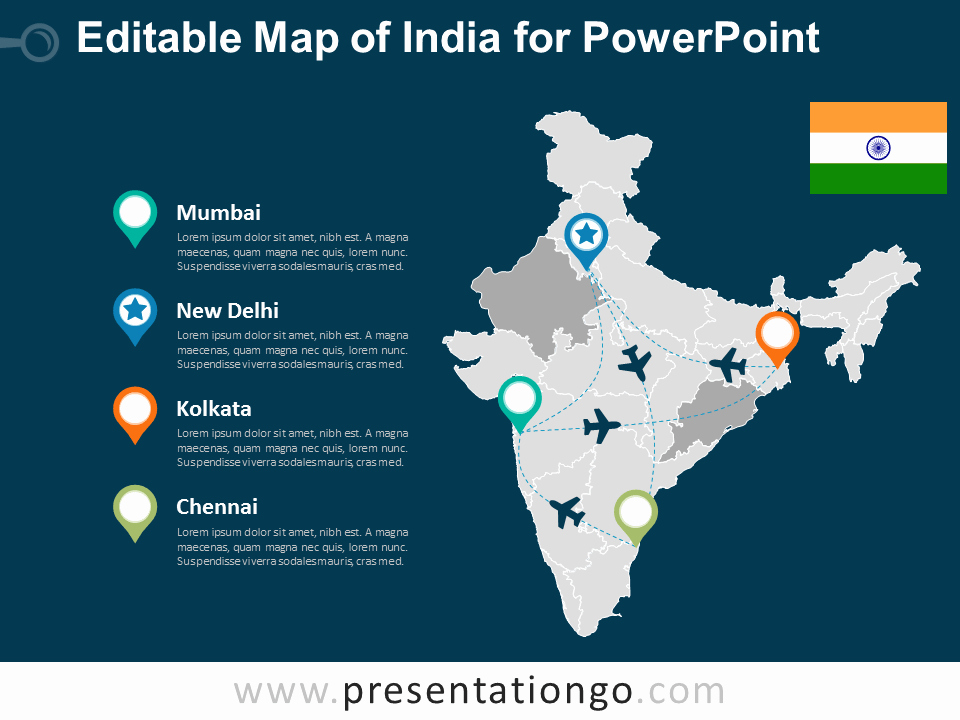 Editable Us Map for Ppt Unique India Editable Powerpoint Map Presentationgo