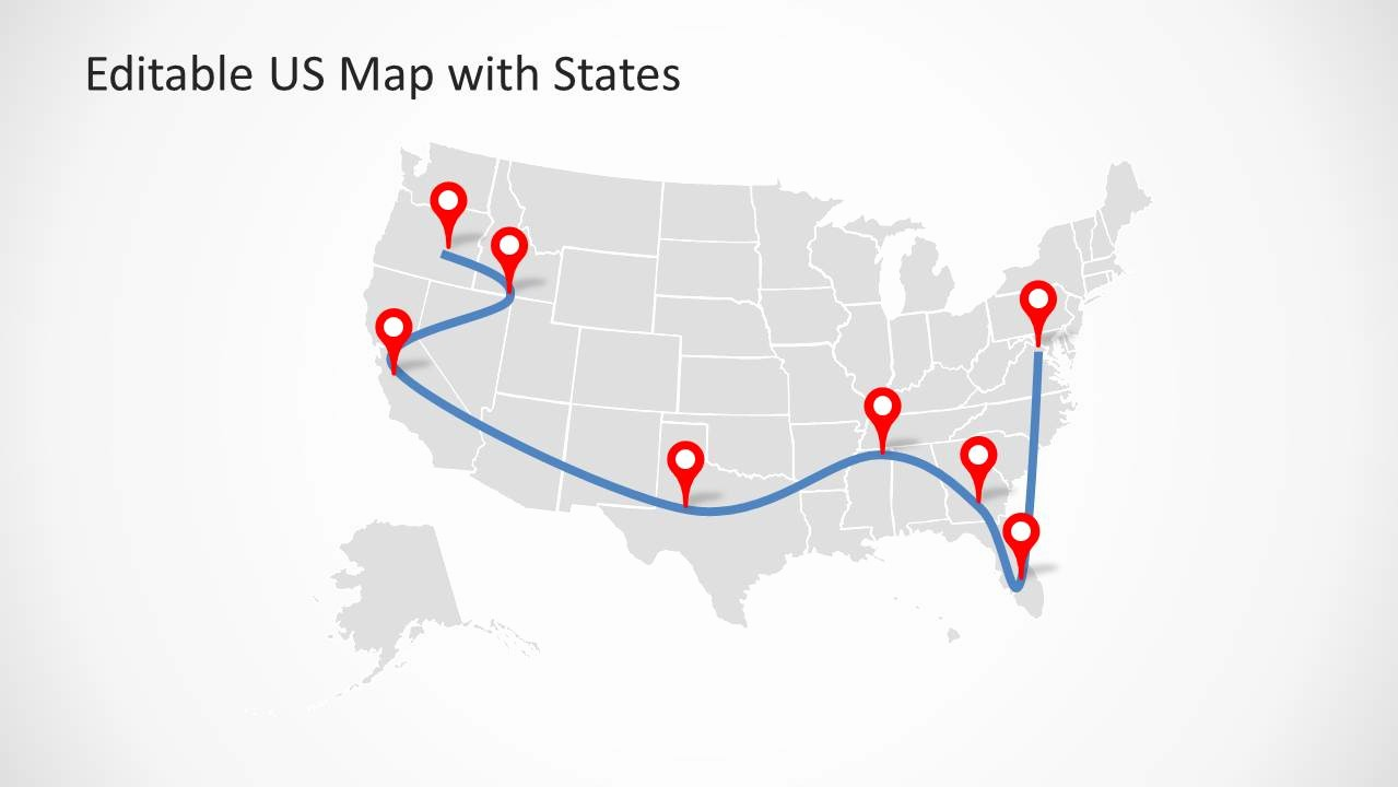 Editable Us State Map Powerpoint Beautiful Editable Us Map Template for Powerpoint with States
