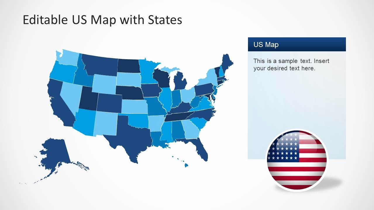 Editable Us State Map Powerpoint Beautiful Us Map Template for Powerpoint with Editable States