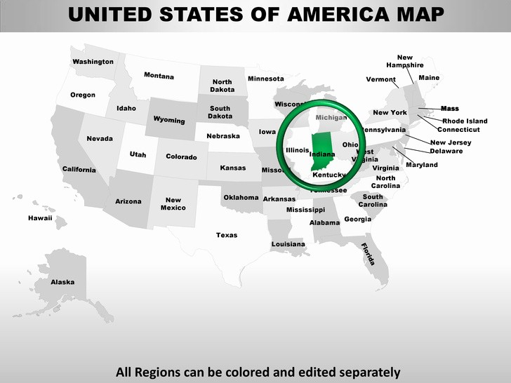 Editable Us State Map Powerpoint Beautiful Usa Indiana State Powerpoint County Editable Ppt Maps and