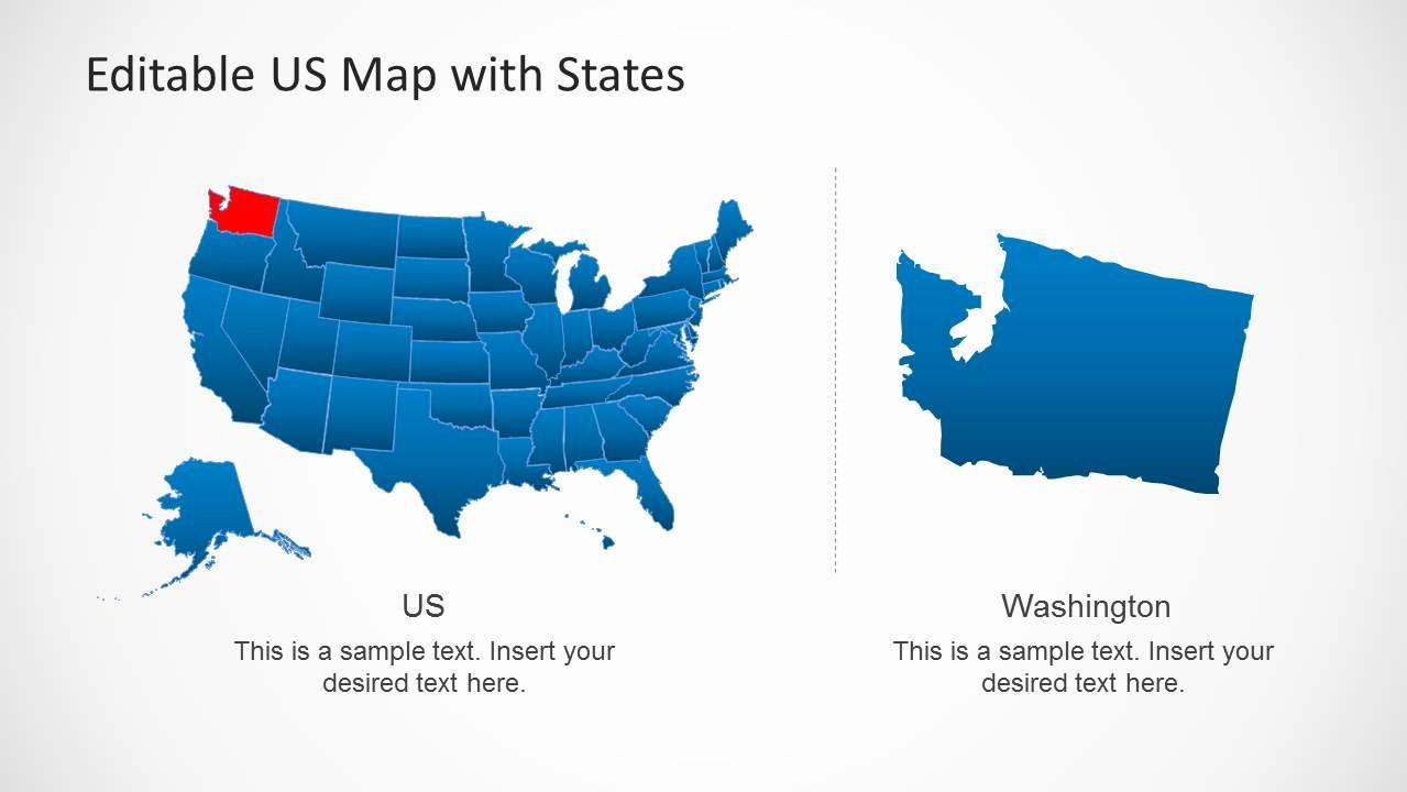 Editable Us State Map Powerpoint Elegant Us Map Template for Powerpoint with Editable States