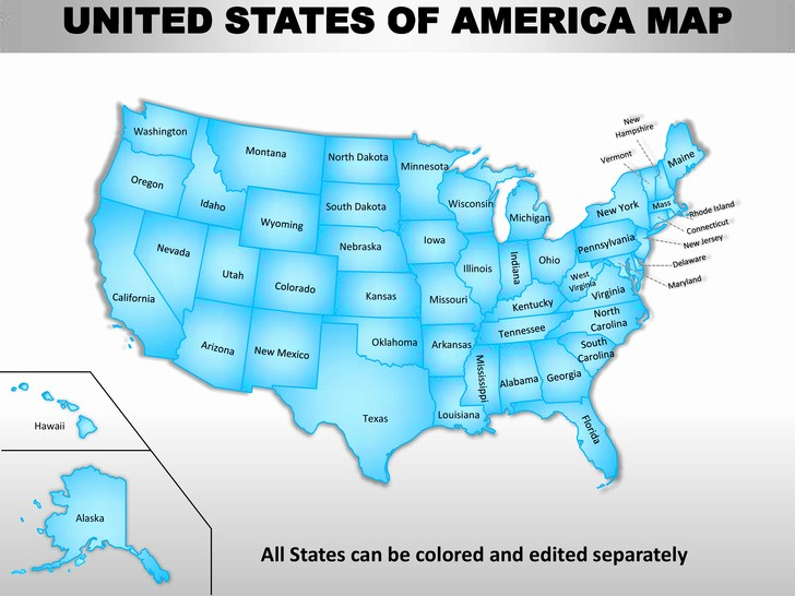 Editable Us State Map Powerpoint Elegant Usa Country Editable Powerpoint Maps with States and Counties
