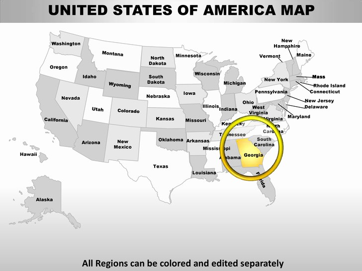 Editable Us State Map Powerpoint Fresh Usa Georgia State Powerpoint County Editable Ppt Maps and