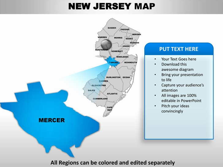 Editable Us State Map Powerpoint Inspirational Usa New Jersey State Powerpoint County Editable Ppt Maps