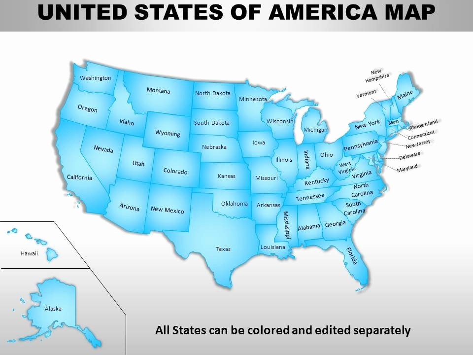 Editable Us State Map Powerpoint Lovely Usa Country Powerpoint Maps