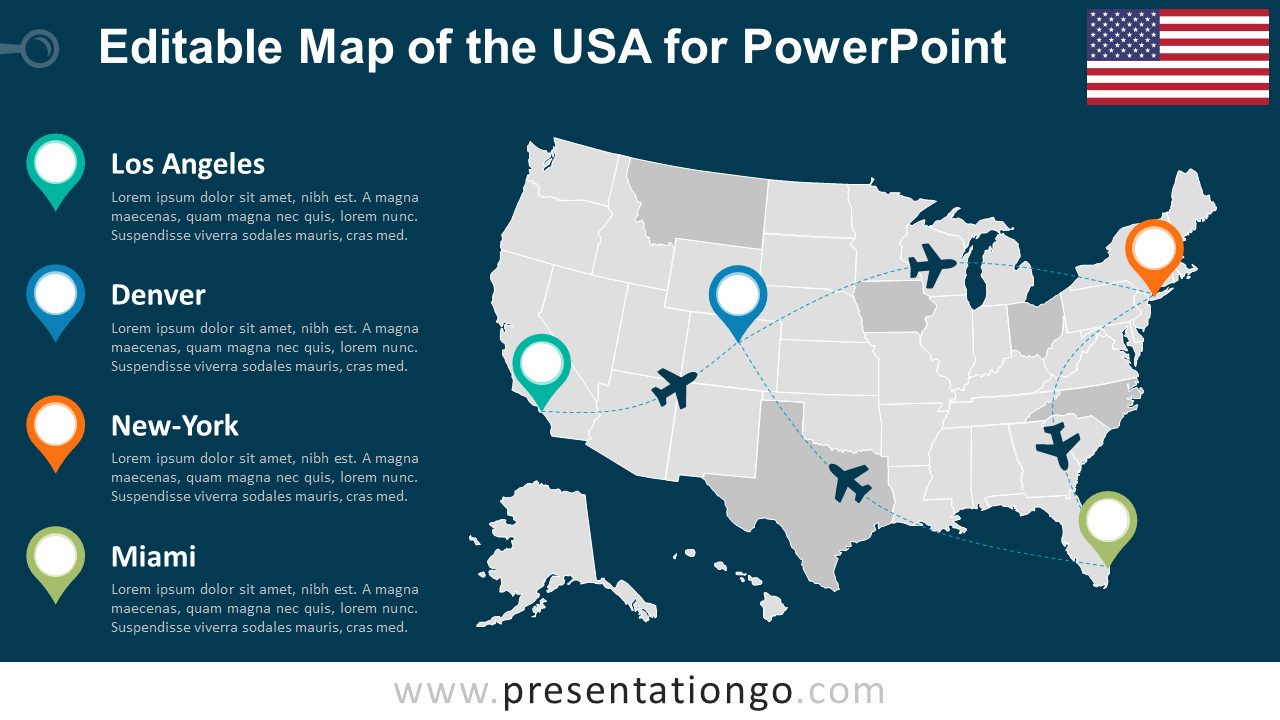 Editable Us State Map Powerpoint New Usa Editable Powerpoint Map Presentationgo