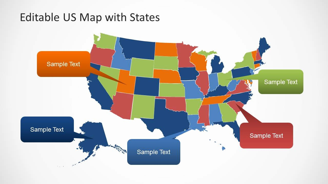 Editable Us State Map Powerpoint Unique Editable Us Map Template for Powerpoint with States