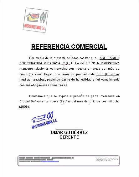 Ejemplo De Carta De Referencia Best Of Modelo Referencia Ercial formatos Y Modelos Legales
