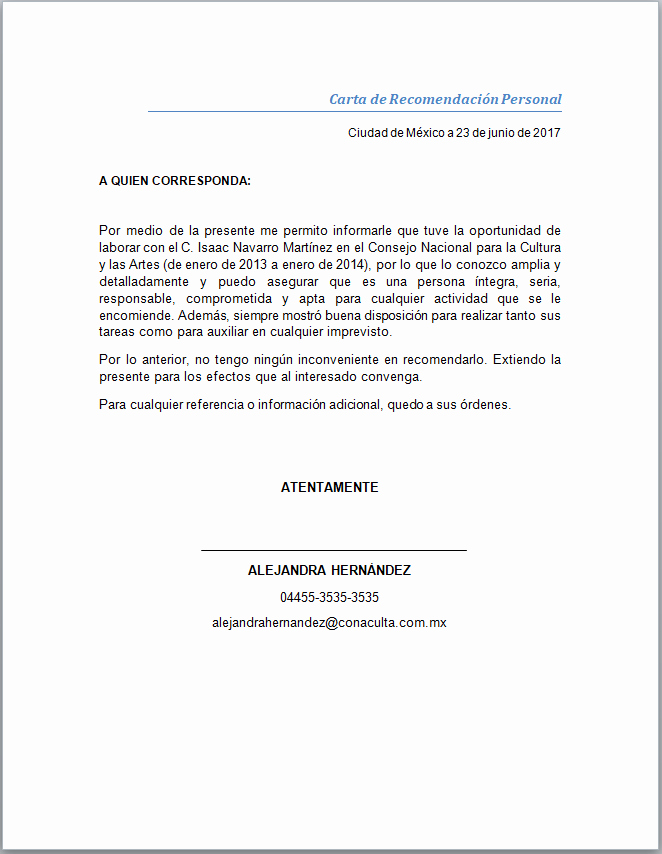 Ejemplo De Carta De Referencia Inspirational Carta De Re Endación Personal