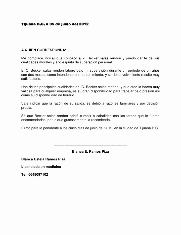 Ejemplo De Carta De Referencia Unique Carta De Re Endacion
