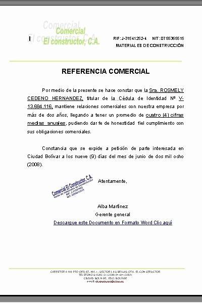 Ejemplo De Carta De Referencias Awesome Modelo Referencia Ercial formatos Y Modelos Legales