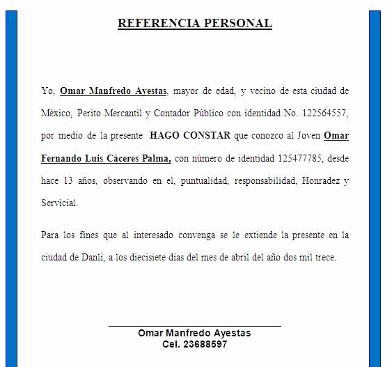 Ejemplo De Carta De Referencias Fresh formato De Referencias Personales Imagui