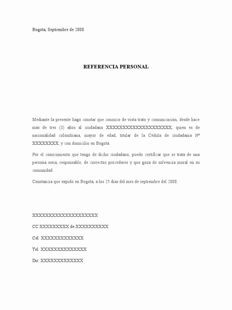 Ejemplo De Carta De Referencias New Imágenes De Referencias Personales