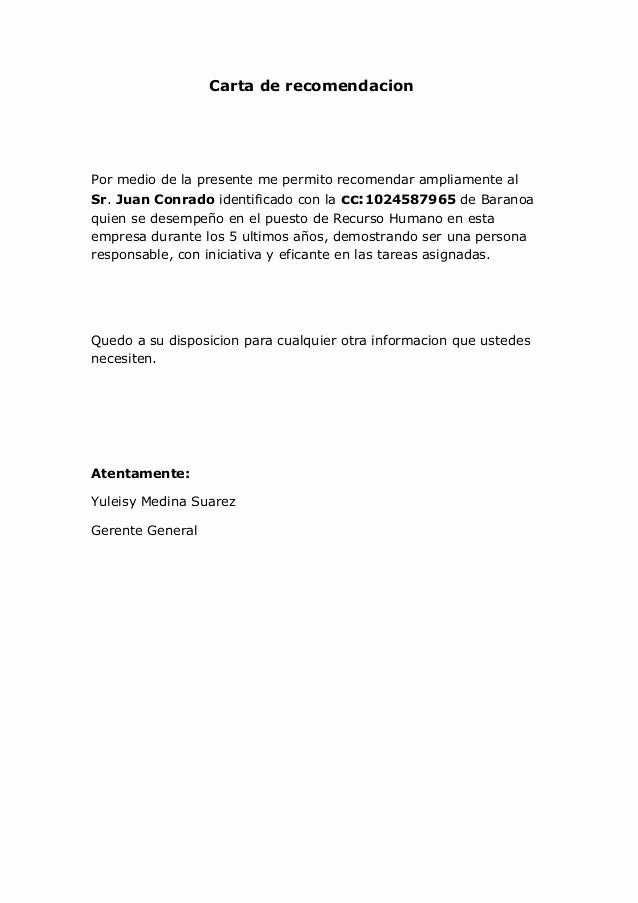 Ejemplo De Cartas De Recomendacion Lovely Carta De Re Endacion