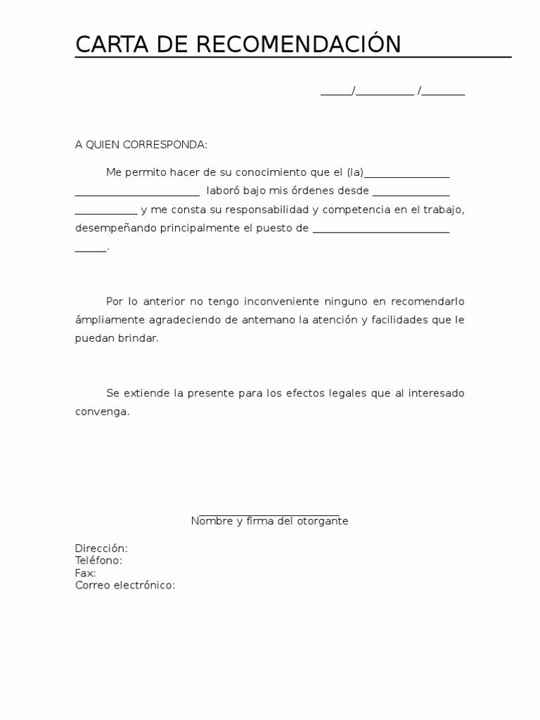 Ejemplo De Cartas De Recomendacion Luxury Carta De Re Endación Personal ¿cómo Hacer Una Aqu