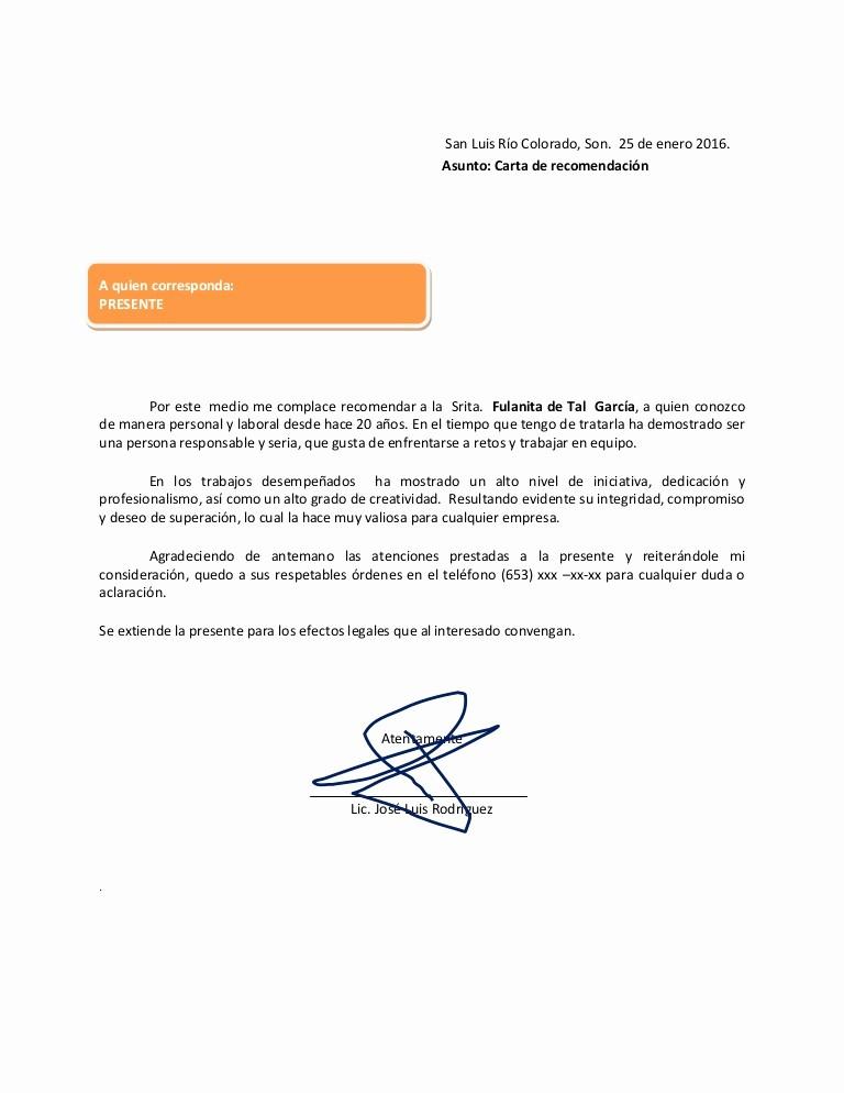 Ejemplo De Cartas De Recomendacion New Carta De Re Endacion 2016