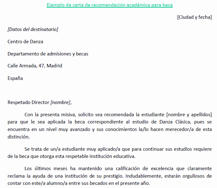 Ejemplo De Cartas De Recomendacion New Carta Re Endacion Academica Beca