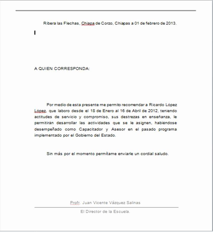 Ejemplo De Cartas De Recomendacion New Ejemplo De Carta De Re Endacion Personal En Word Imagui