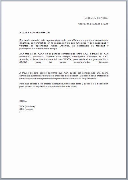 Ejemplo De Cartas De Recomendacion Unique Ejemplo De Carta De Re Endación Estándar
