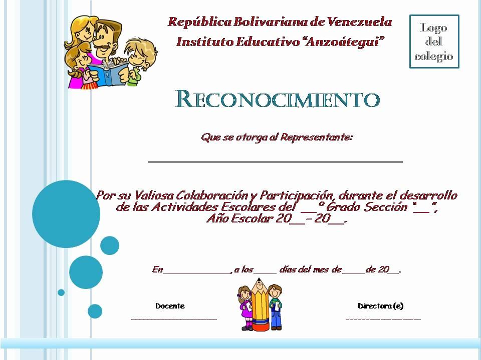Ejemplo De Certificado De Reconocimiento Beautiful Planeta Escolar Diplomas Y Reconocimientos A Padres Y Familia