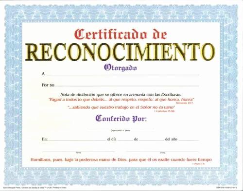 Ejemplo De Certificado De Reconocimiento Fresh Certificado De Reconocimiento Pqt De 15 Editorial