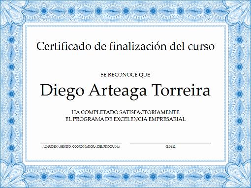 Ejemplo De Certificado De Reconocimiento Inspirational Certificados Fice