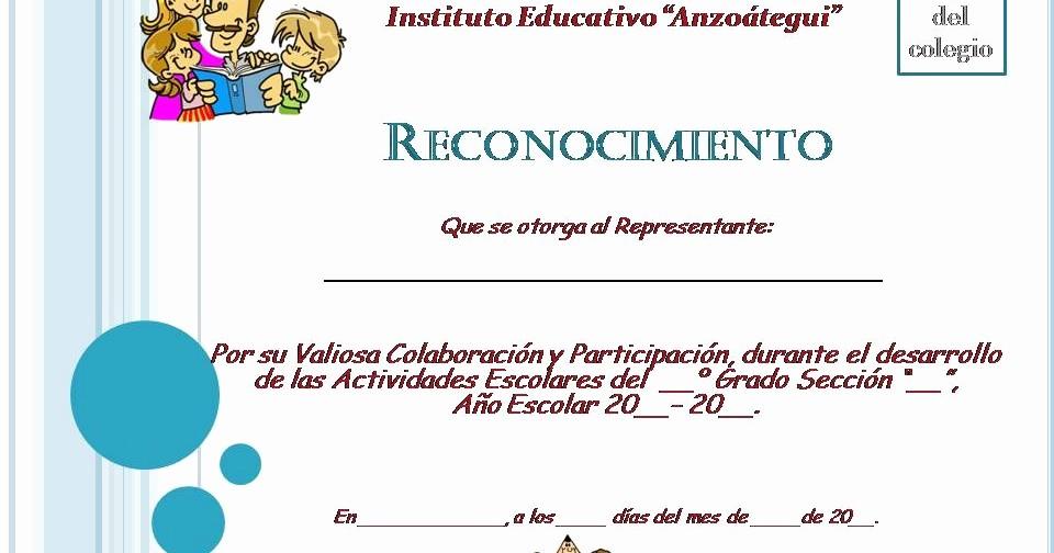 Ejemplo De Certificado De Reconocimiento Lovely Planeta Escolar Diplomas Y Reconocimientos A Padres Y Familia