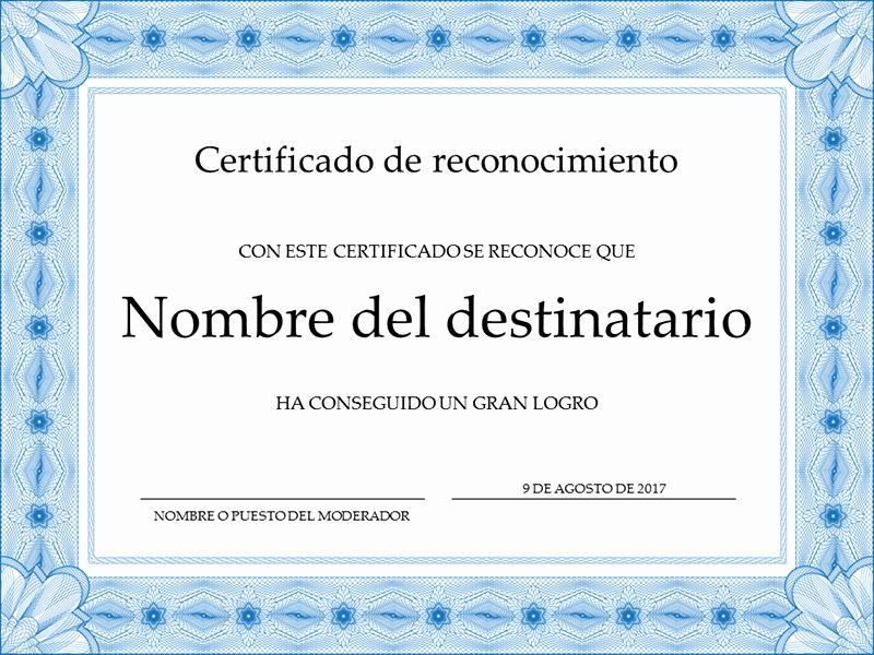 Ejemplo De Certificado De Reconocimiento Luxury Certificados Fice