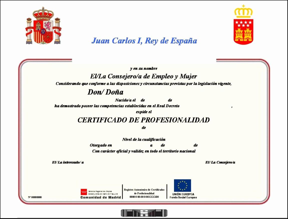 Ejemplo De Certificado De Reconocimiento Luxury Titulación Oficila Certificado De Profesionalidad En Aula