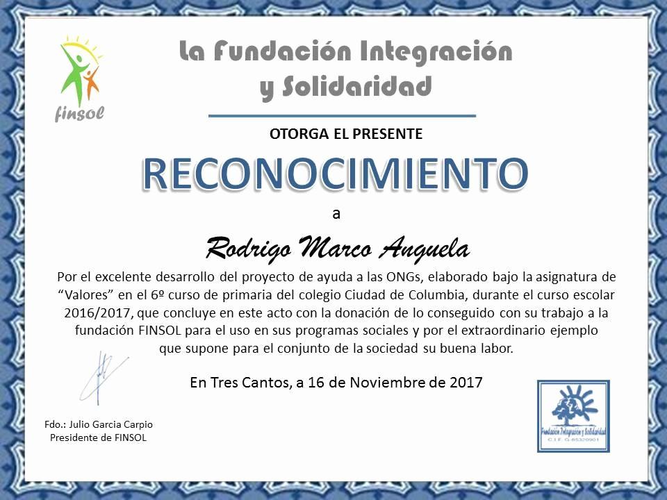 Ejemplo De Certificados De Reconocimiento Beautiful Reconocimiento A Rodrigo Marco Anguela