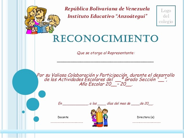 Ejemplo De Certificados De Reconocimiento Lovely Reconocimiento Para Padres Y Representantes
