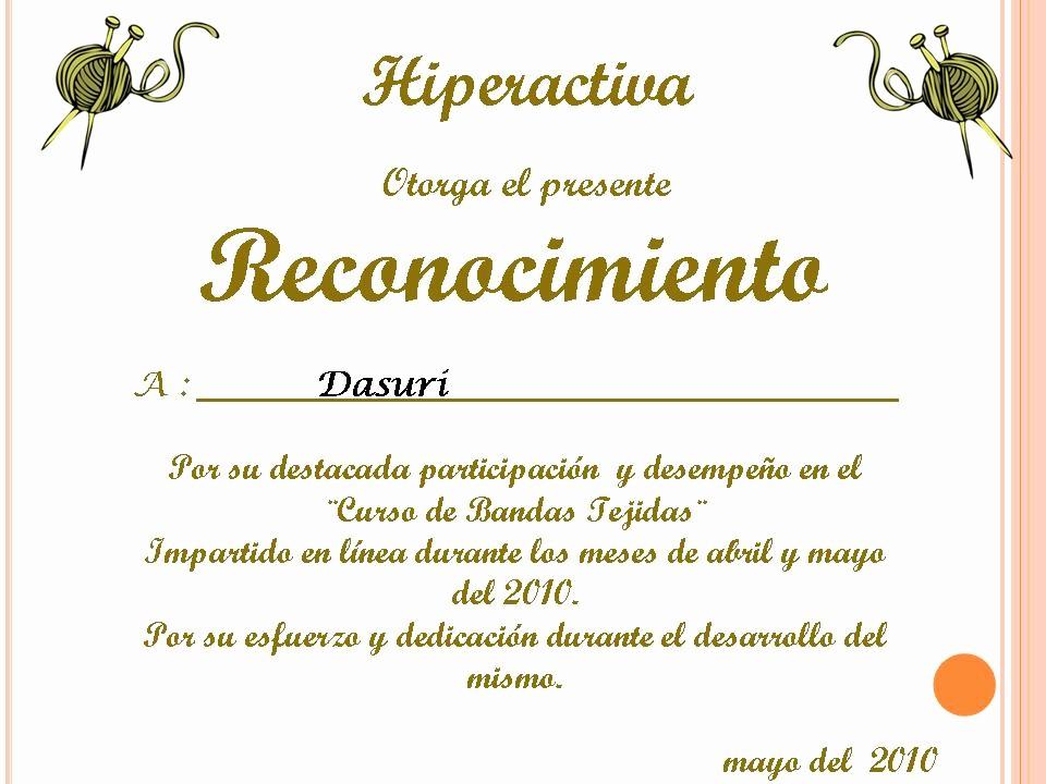 Ejemplo De Certificados De Reconocimiento Luxury Tejidos Y Algo Mas Reconocimiento