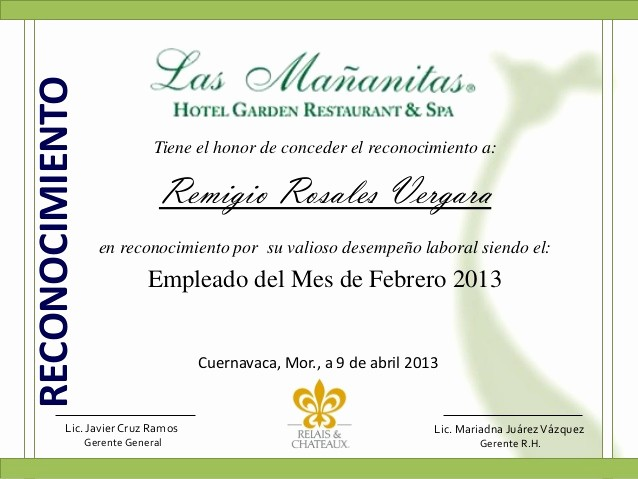 Ejemplo De Certificados De Reconocimiento New Reconocimiento Mañanitas