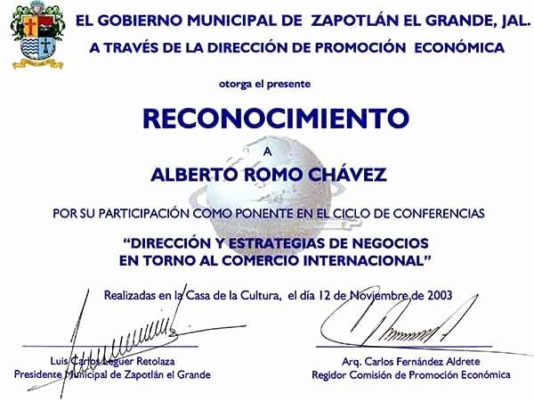 Ejemplo De Certificados De Reconocimiento New Reconocimientos
