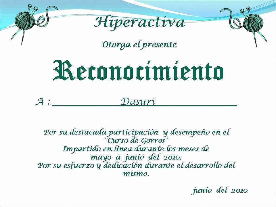 Ejemplo De Certificados De Reconocimiento New Tejidos Y Algo Mas Diploma Del Curso De Gorros