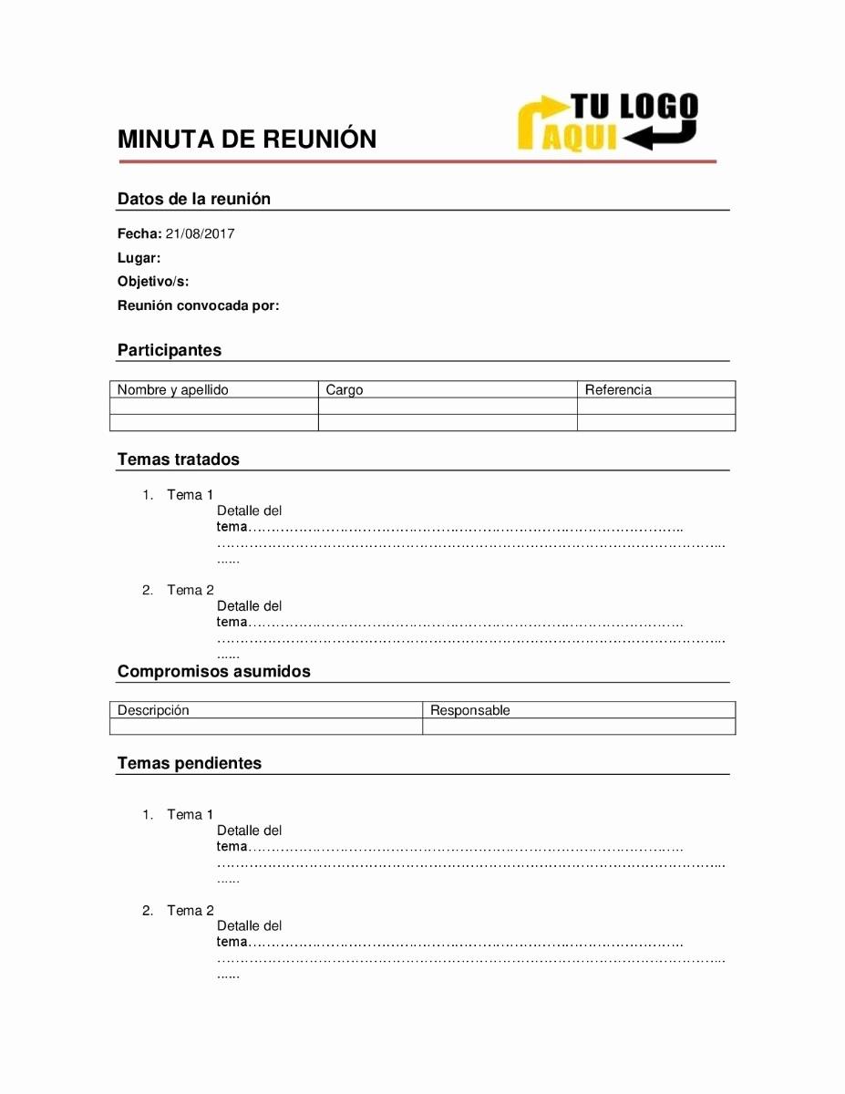 Ejemplo De Minutas De Reunion Beautiful Minuta De Reunión En Word 2013 $ 59 00 En Mercado Libre
