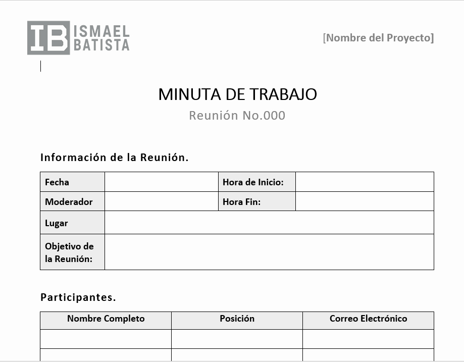 Ejemplo De Minutas De Reunion Beautiful Plantilla Word Minuta De Trabajo ismael Batista