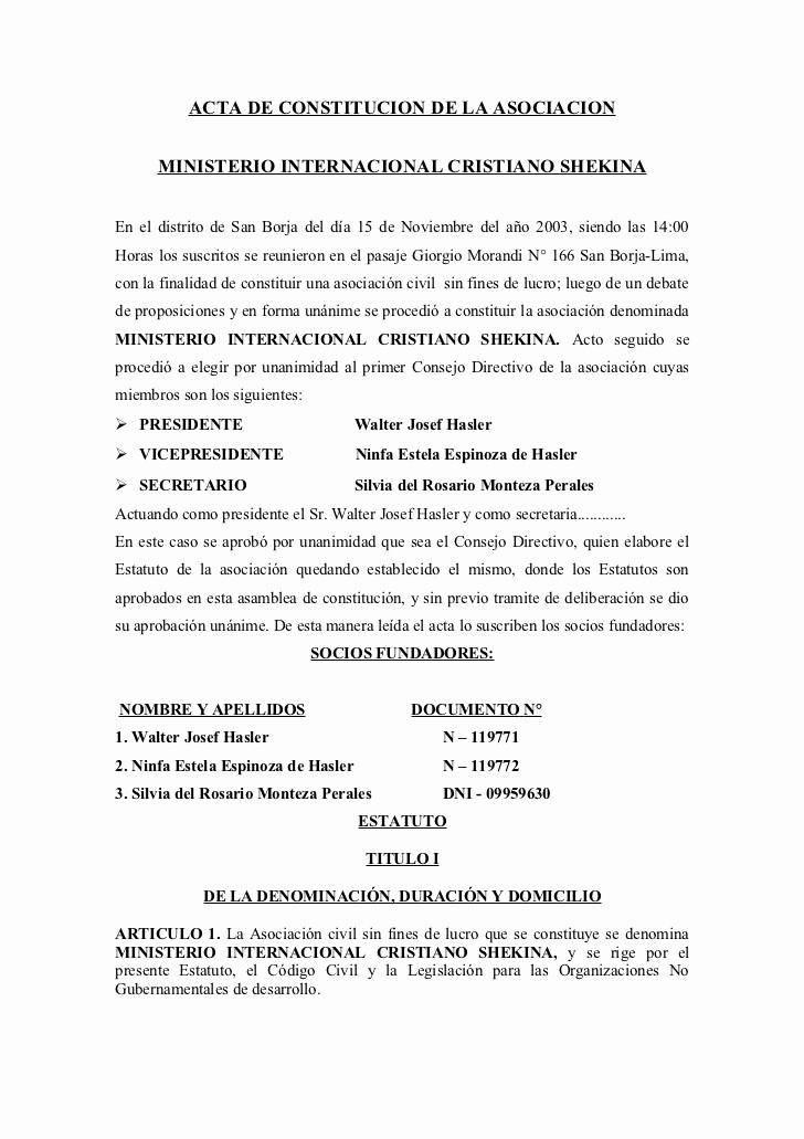 Ejemplo De Minutas De Reunion Inspirational Acta De Constitucion Ong