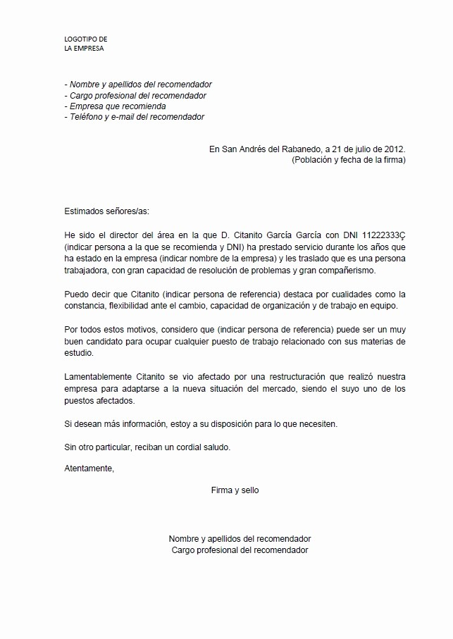 Ejemplos De Carta De Recomendacion Awesome Carta De Re Endación Blog Grupo norte