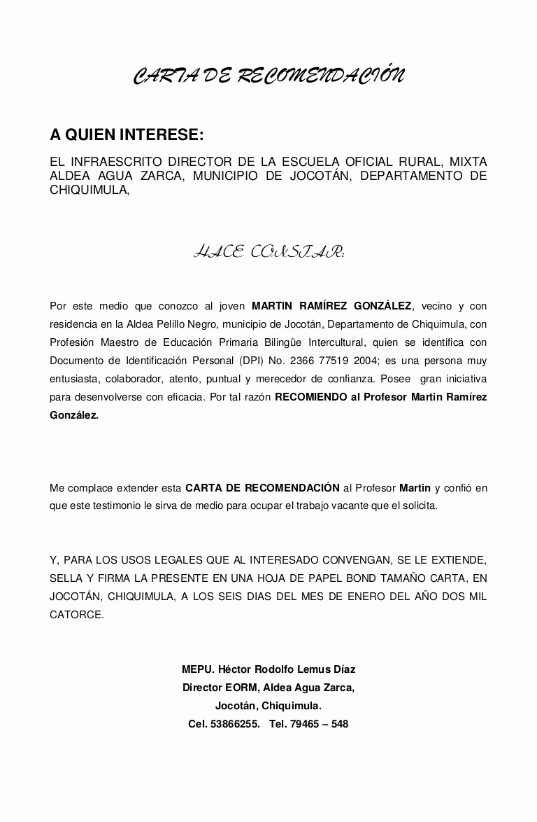 Ejemplos De Carta De Recomendacion Awesome Carta De Re Endación